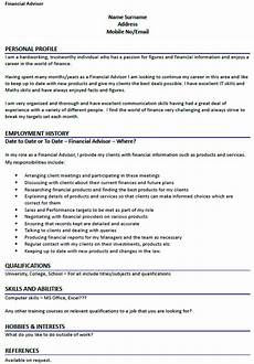 Finance Assistant Cv Sample Financial Advisor Cv Example Icover Org Uk