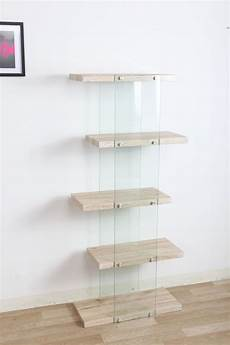 scaffale vetro offerta scaffale 5 rip alto legno vetro quercia