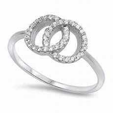 Interlocking Ring Interlocking Circles Ring New 925 Sterling Silver