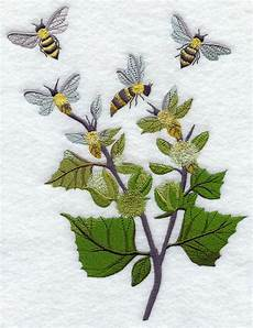 bees in the garden embroidered flour sack dish towel