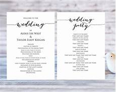 Wedding Programme Template Wedding Program Templates 183 Wedding Templates And Printables