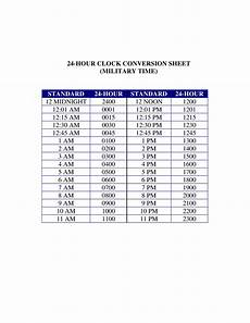 Comp Time Conversion Chart 24 Hours Clock Military Time Conversion Chart Templates