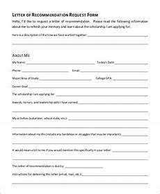 Letter Of Recommendation Forms Sample Letter Of Request 9 Examples In Word Pdf