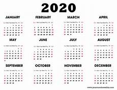 Calendar Print Out 2020 2020 Printable Calendar Download Free Blank Templates