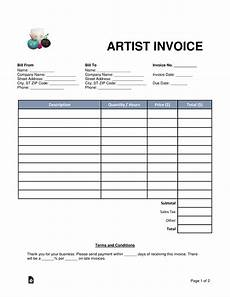Incoice Template Free Artist Invoice Template Word Pdf Eforms Free