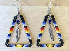 beaded triangle hoop earrings w feather american