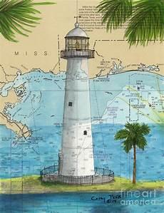 Tide Chart Biloxi Ms Biloxi Lighthouse Ms Nautical Chart Art Cathy Peek