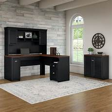 shop bush furniture fairview 60w l shaped desk with hutch