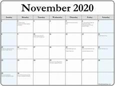 Calendar Month November 2020 November 2020 Calendar With Holidays