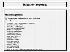 Chart Assembly Order Medical Records Role And Its Maintenance