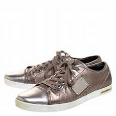 Dolce And Gabbana Sneaker Size Chart Dolce And Gabbana Metallic Grey Leather Logo Plaque