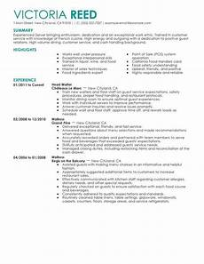 Objective For Server Resumes Server Resume Sample Sales Resume Examples Job Resume