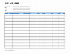 Credit Card Payment Tracker Credit Card Use Log Template 187 Exceltemplates Org