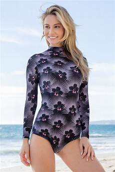 sleeve bathing suit uttu surfing one swimsuit print feather floral