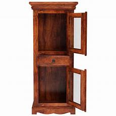 langley solid wood small linen cabinet with glass doors
