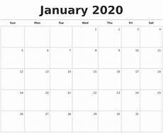Printable Monthly Calendar January 2020 January 2020 Blank Monthly Calendar