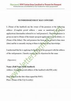 Affidavit For No Objection Certificate Noc Letter From House Owner Landlord To Tenant For Passport