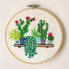 cactus and succulent embroidery with flowers hoop