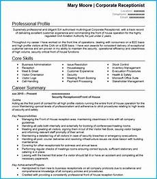 Cv For Receptionist Position Receptionist Cv Example With Writing Guide And Cv Template