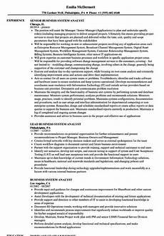 Business System Analyst Resume Business System Analyst Resume Samples Velvet Jobs
