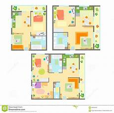 Apartment Furniture Planner Apartment Plan With Furniture Set Vector Stock Vector