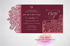 Tri Fold Invitation Templates Tri Fold Wedding Invitation Card Template Laser Cut Sxg Dxf