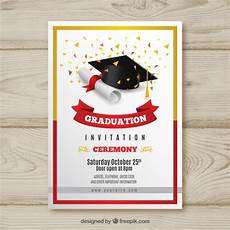 Design Graduation Invitations Online Free Elegant Graduation Invitation With Realistic Design Vector