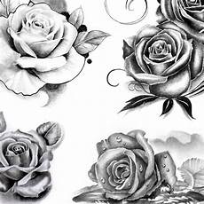 Rose Designs 5 Roses Of Designs In Black And Grey Style