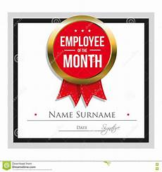 Employee Of The Month Rewards Employee Of The Month Certificate Template Stock Vector