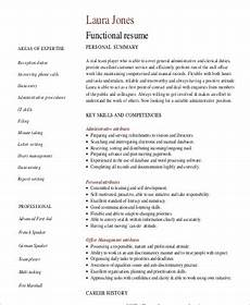 Functional Summary Examples Free 9 Functional Resume Templates In Pdf Ms Word