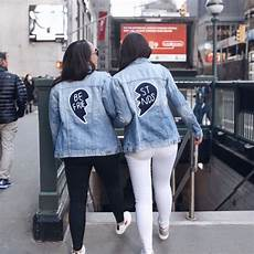 coats best friends best friend patch denim jacket the house of sequins