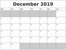 Templates Calendar December 2019 Printable Calendar Free Blank Templates