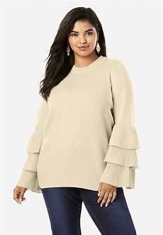tiered sleeve sweater plus size sweaters roaman s