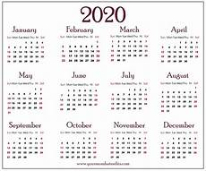 Print Online Calendar 2020 Download 2020 Calendar Templates Pdf