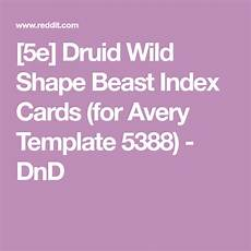 Avery Template 5388 5e Druid Wild Shape Beast Index Cards For Avery