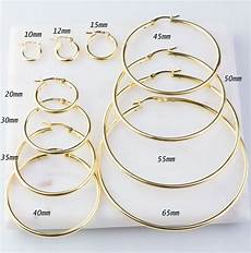20mm Size Chart Heavy Gold Plated Over Sterling Silver Hoop Earring Finding