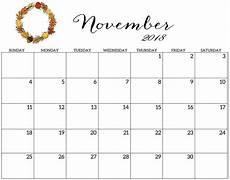 November Calendar Decorations Printable Word Template Printable