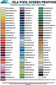 Ink Color Chart Ink Color Chart Isla Vista Screen Printing Amp Embroidery
