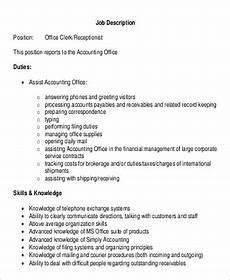 Job Description For Accounting Clerk Free 12 Sample Office Clerk Job Descriptions In Ms Word Pdf