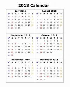 6 Month Calendar On One Page 6 Month One Page Calendar 2018 Printable December