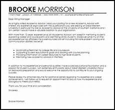 Academic Job Cover Letter Academic Advisor Cover Letter Sample Livecareer
