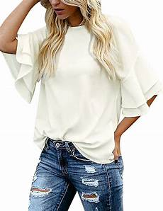 womens bell sleeve tops and blouses luvamia s casual 3 4 tiered bell sleeve crewneck