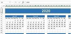 Calendar Excel Template 2020 Excel 2020 Calendar Download Excel Sheet Com
