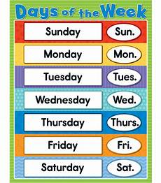 Printable Days Of The Week Chart Days Of The Week Chart Grade Pk 5
