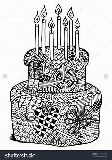 birthday cake zentangle illustration zenart