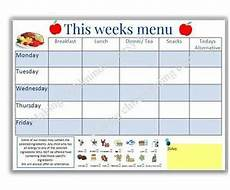 Allergy Chart For Child Care Eyfs Weekly Menu Planner With Allergy Information