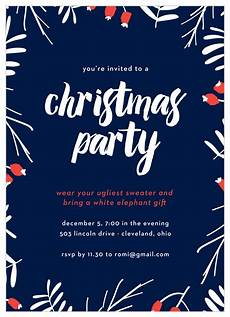 Free Evites For Holiday Party Snow Cherries Christmas Party Invitations By Basic Invite