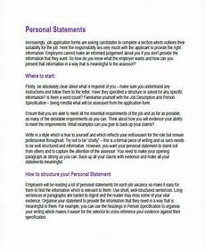 How To Write A Job Summary For A Resume Free 8 Personal Statement Examples Amp Samples In Pdf