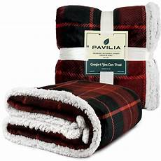 pavilia premium sherpa size blanket plaid design