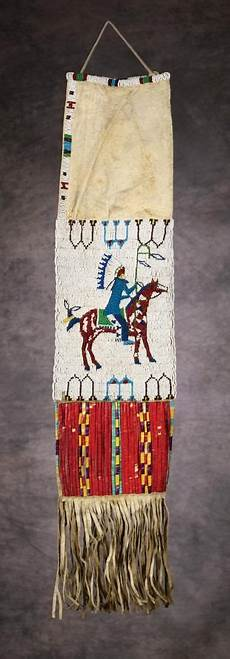 beadwork sioux sioux beaded quilled pictorial pipebag c 1890